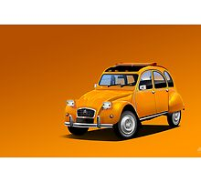 Citroen 2CV ' Square headlight Orange version' Poster Illustration by Autographics