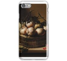 LOUYSE MOILLON ; STILL LIFE WITH A BASKET OF BITTER ORANGES AND POMEGRANATES ON A LEDGE iPhone Case/Skin
