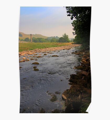 River and fields on a summer afternoon Poster