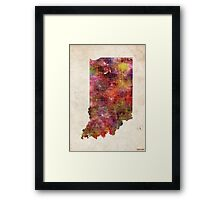 indiana map warm color Framed Print
