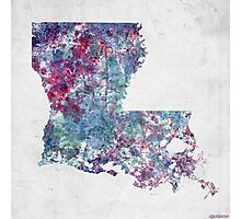 louisiana map cold colors Photographic Print