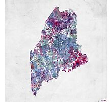 maine map cold colors Photographic Print