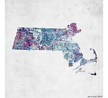 massachussets map cold colors Photographic Print