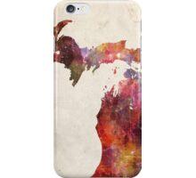 michigan map warm colors iPhone Case/Skin