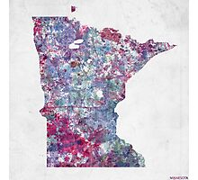 minnesota map cold colors Photographic Print