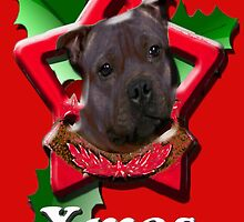Staffordshire Bull Terrier says Merry Xmas by Matterotica