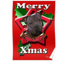 Staffordshire Bull Terrier says Merry Xmas Poster