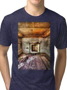 Abandoned Bush house #1 & #2, the lounge room (portrait) Tri-blend T-Shirt