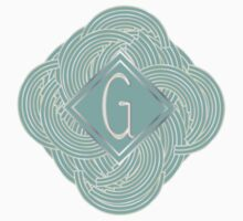 1920s Blue Deco Swing with Monogram letter G by CecelyBloom
