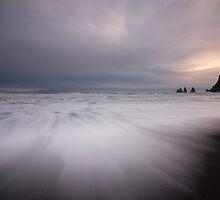 sunset on black sand by JorunnSjofn Gudlaugsdottir