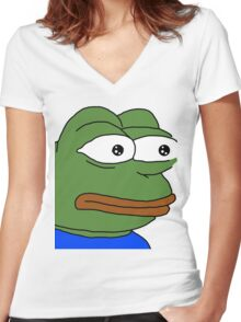 Rare Pepe Women's Fitted V-Neck T-Shirt