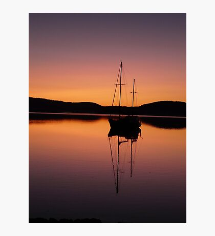 red sunset at lewisham with yacht . Photographic Print