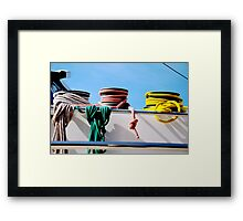 Colorcoded Ropes on a Boat? Framed Print