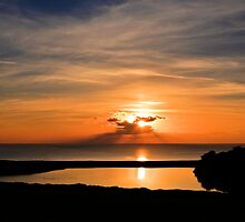 Sunset From Degibna Over Loe Bar, Cornwall by Mike Honour