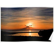 Sunset From Degibna Over Loe Bar, Cornwall Poster