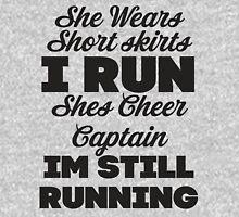 She Wears Short Skirts, I Run (Black) Womens Fitted T-Shirt