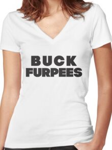 Buck Furpees (Black) Women's Fitted V-Neck T-Shirt