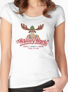Walley World Logo With Text Distressed Women's Fitted Scoop T-Shirt