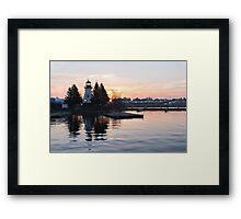 Soft Rose Daybreak at the Lighthouse Framed Print