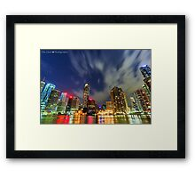 HDR Brisbane City Lights Framed Print