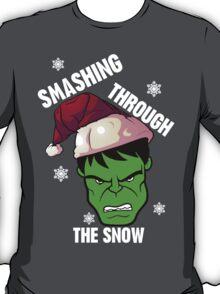Smashing Through The Snow!(green and white) T-Shirt
