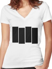 Black Flag shirt Women's Fitted V-Neck T-Shirt