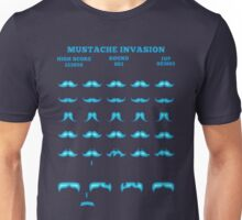 Funny Mustache Invaders T-Shirt Video Game Parody Unisex T-Shirt