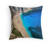 Myrtos beach & Casper the friendly ghost Throw Pillow