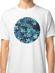 Hand Painted Floral Pattern in Teal & Navy Blue Classic T-Shirt