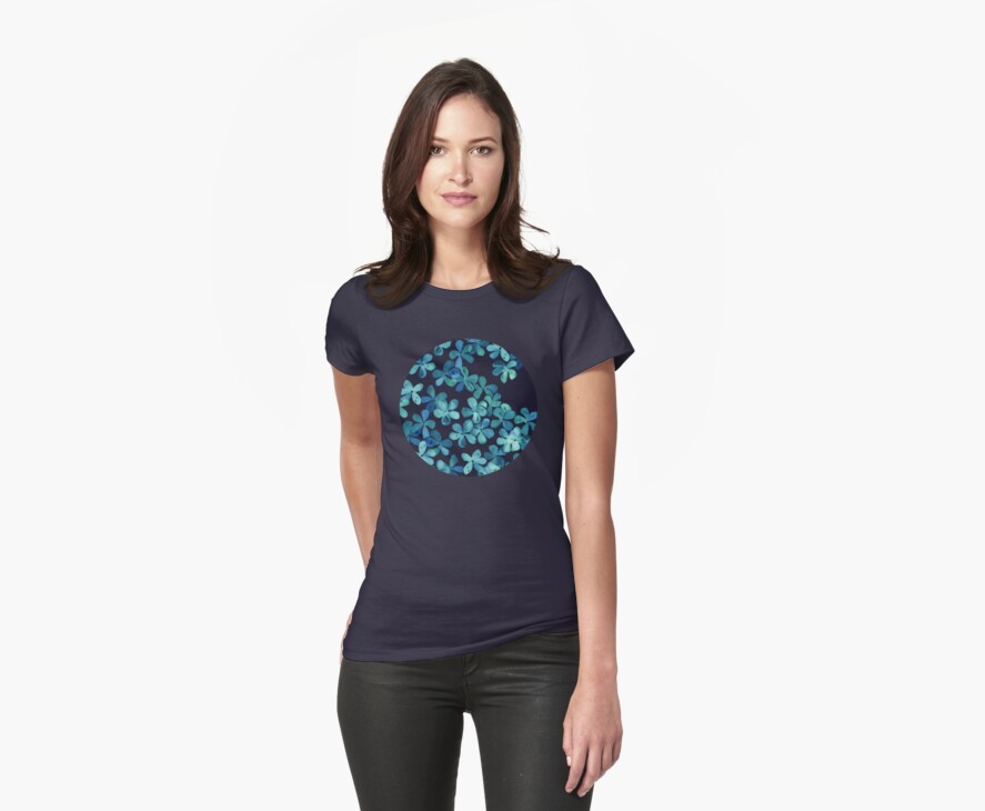 Hand Painted Floral Pattern in Teal & Navy Blue by micklyn
