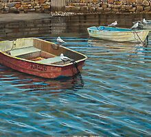 Five seagulls with red boat by Freda Surgenor