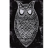Lino Owl Photographic Print