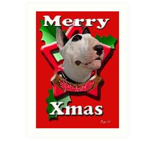 Merry Xmas from Bull Terrier Art Print