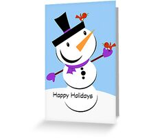 Happy Holidays - Snowman - Red Bird - Christmas - Card Greeting Card