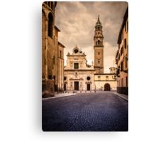 Church and bell tower in Parma, Italy Canvas Print
