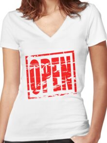 Open red rubber stamp effect Women's Fitted V-Neck T-Shirt