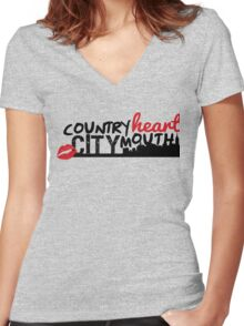country heart city mouth (one) Women's Fitted V-Neck T-Shirt