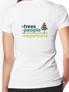 Earth Day Design +trees -people =happiness Women's Fitted V-Neck T-Shirt