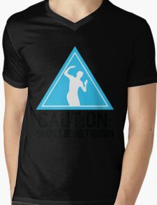Caution: shapes being thrown Mens V-Neck T-Shirt