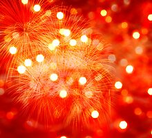 red background with lights and fireworks fire by JoelVieira