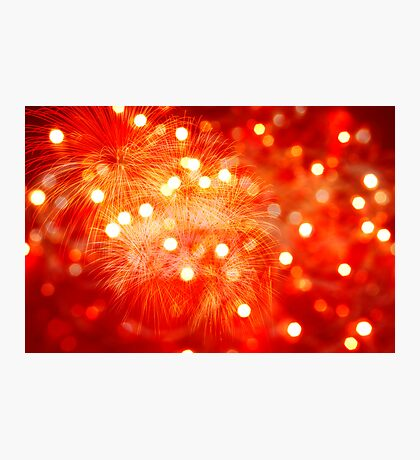 red background with lights and fireworks fire Photographic Print