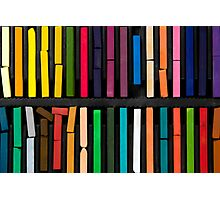 bars of bright and colorful pastel on black background Photographic Print