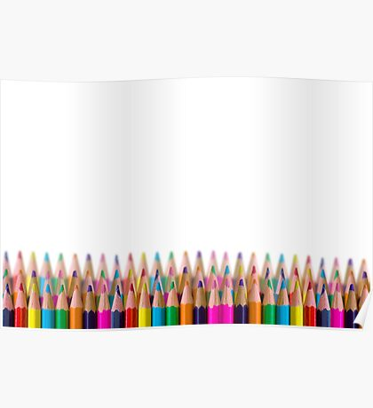 rows of colored pencil on white background Poster