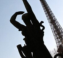 Silhouetted companion to the Eiffel Tower, Paris by lightworks