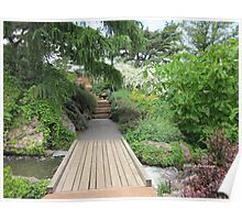 Bridge across Waterfall Garden Poster