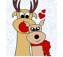 Merry Kissmas - Reindeer - Christmas - Card by red addiction
