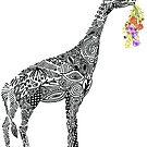 Giraffe with flowers by Kanika Mathur