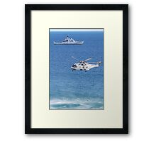 Navy Helicopter and Ship Framed Print