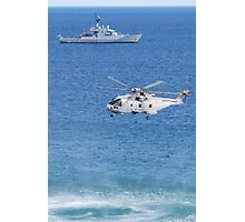 Navy Helicopter and Ship Photographic Print