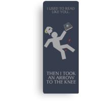 Arrow in the knee book mark Canvas Print
